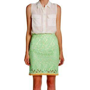 Elie Tahari Neon Green Bella Lace Skirt NWT- Sz. 4